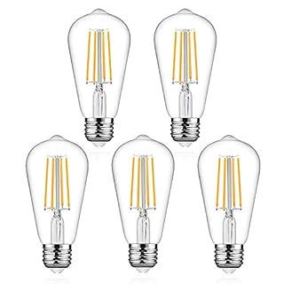 Defurhome LED Edison Bulbs 60W Equivalent, Warm White 2700K, High ≥95 CRI Eye Protection LED Bulb, ST58 LED Filament Light Bulbs, Antique Style Lighting, Non Dimmable, E26 Medium Base - Pack of 5