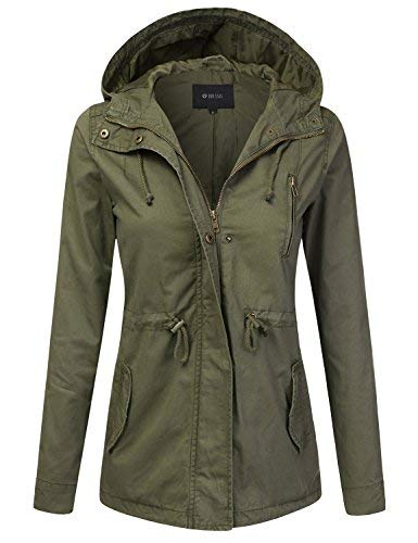 DRESSIS Women's Lightweight Military Anorak Hooded Jacket OLIVE M ()