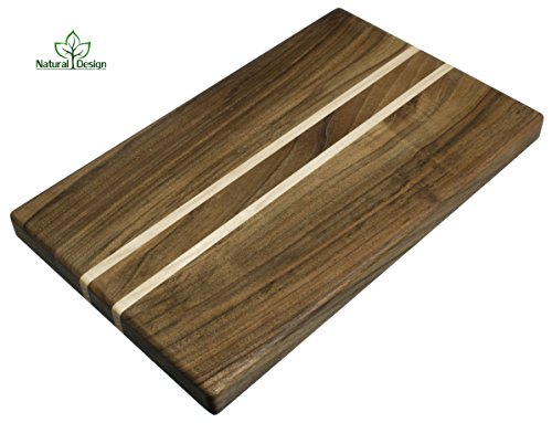 Maple Walnut (Cutting Board 16 x 10 x 1.2 inch Edge Grain Chopping Block Wood Walnut & Maple Hardwood Thick Durable & Resistant	)