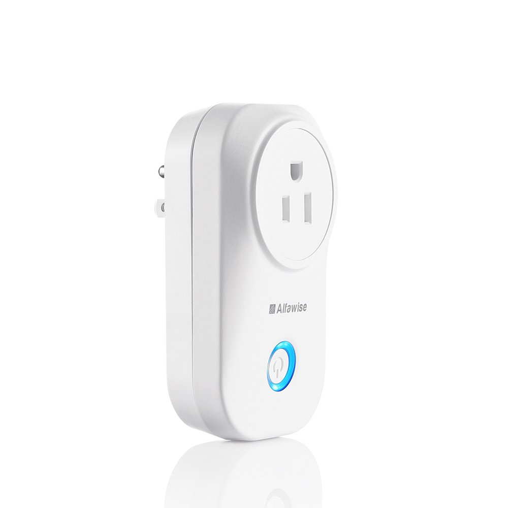 Smart Plug, Alfawise Smart Wi-Fi Plug Wireless Outlet, Smart Timing Socket Compatible with Alexa, Timing Function, Remote Control Appliances from Anywhere