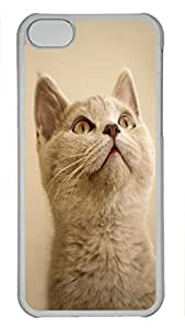 Shell Case for iphone 5C with Funny Cat DIY PC Transparent Hard Skin Case for iphone 5C