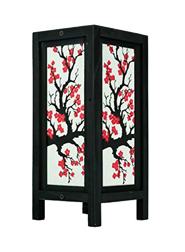 Asian Candle - Thai Vintage Handmade Asian Oriental Japanese Sakura Flower Bedside Table Light or Floor Wood Paper Lamp Shades Home Bedroom Garden Decor Modern Design from Thailand