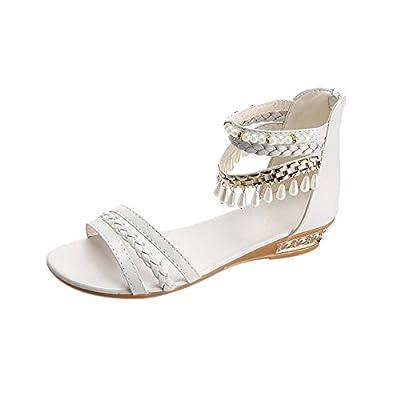 Fullfun women Summer Elegant flat Shoes Woman Pearl Sandals