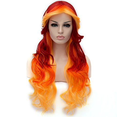 Probeauty Fashional COS Long Airy Curly Hair Ombre Hair Cosplay Wig Costume Party Wigs (Yellow to Orange to Red) ()