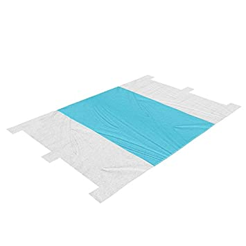 YUEBO Beach Blanket Picnic Blanket Oversized 7 X 9 Outdoor Nylon Beach Mat Portable Sand-Proof Sand Mat with Six Anchor Pockets