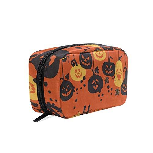 Cosmetic Bag Cartoon Pumpkin Bat Happy Halloween Girls Makeup Organizer Box Lazy Toiletry Case