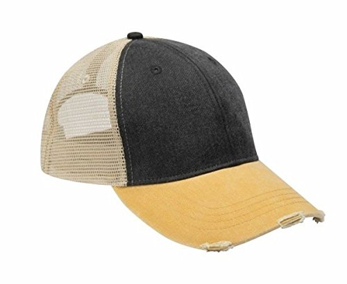 Adams mens 6-Panel Pigment-Dyed Distressed Trucker Cap(OL102) (One Size, Black/Mustard/Tan) Pigment Cap
