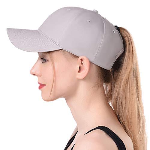 865c2e494 Muryobao Women's Ponycap Messy High Bun Ponytail Adjustable Baseball Cap  Glitter Plain Trucker Dad Hat Cotton Grey