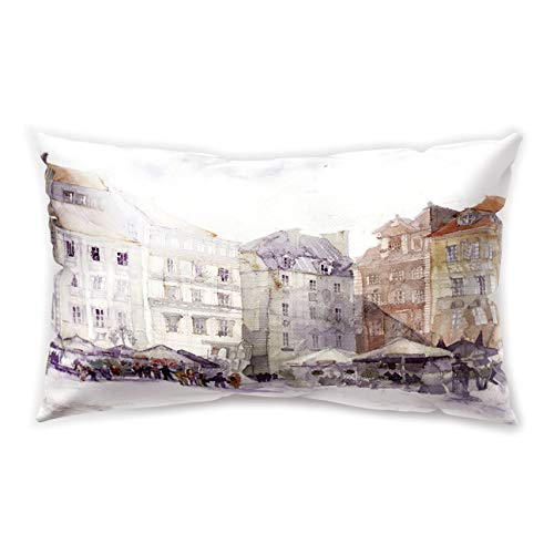 Hengjiang City View Rectangular Cushion Cover Vintage London Moscow Castle Printing Double-Sided Soft Plush Pillowcase 30cm x 50cm(12IN x 20IN)]()