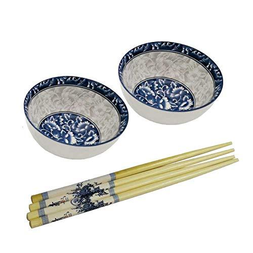 FINECASA Fine China 4.5 Inch Chinese Style Rice Bowls 2 Bowls 2 Pairs Chopstick