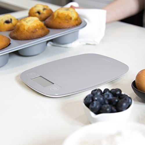 GreaterGoods Digital Food Kitchen Scale, Multifunction Scale Measures in Grams and Ounces (Ash Grey)