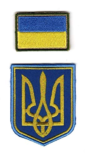 Lot of 2 Ukrainian Patches Emblems Coat of Arms Tryzub National Flag of Ukraine