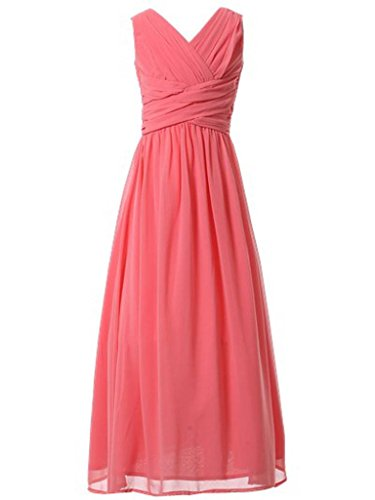 Happy Rose Flower Girl's Dress Party Dresses Juniors Long Bridesmaid Dress Coral 16