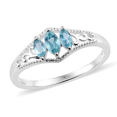 925 Sterling Silver Marquee Apatite Statement Ring for Women Jewelry Gift Size 9 Cttw 0.5 ()