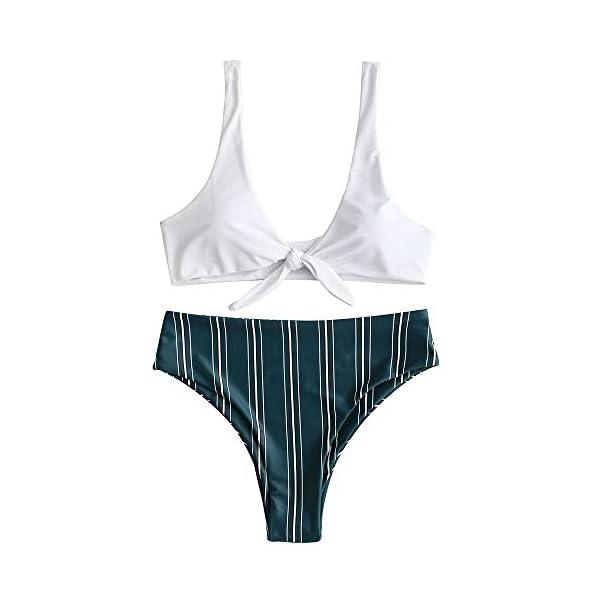 ZAFUL Costumi da Bagno Donna in Due Pezzi Bikini Set Imbottito Estate Slip Brasiliano Annodato a Righe 1 spesavip