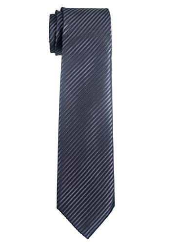 Retreez Woven Boy's Tie with Stripe Textured (8-10 years) - Charcoal Black (Stripe Silk Boys Tie)