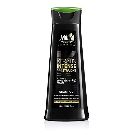 Natural Formula Keratin Intense Shampoo - Sodium Chloride Free Keratin Infused Shampoo - Keratin Hair Repair Treatment For Straightened Hair Retains Frizz-Free Straightening Results 3 x Longer 13.5 oz