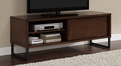 Breckenridge Walnut 50-inch Flat Screen TV Stand Media Storage Cabinet Entertainment Center with Sliding : television storage cabinets - Cheerinfomania.Com