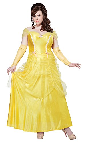 [California Costumes Women's Plus-Size Classic Beauty Fairytale Princess Long Dress Gown Plus, Yellow,] (Belle Halloween Costumes For Women)