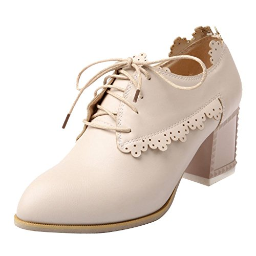 Carol Chaussures Vintage Femmes Talon Chunky Chaussures Oxford Beige