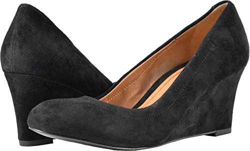 Orthotic Heel Wedges (Vionic Womens Lux Camden Wedge Black Suede Size 7.5 Wide)