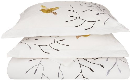 (Superior 100% Cotton Percale Embroidered 3-Piece Duvet Cover Set, King/California King, Gold Swallow)