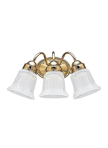 Sea Gull Lighting 4872-02 Brookchester Three-Light Bath or Wall Light Fixture with Clear Glass Shades, Polished Brass Finish