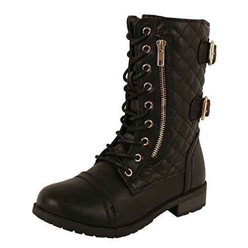 Guilty Shoes - Womens Combat Military Lace Up Buckle Platform Mid Calf Boots