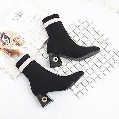 señaló de botas de RTRY otoño tejido microfibra Chunky sintético botas botas Slouch UK4 EU36 botas US6 Zapatos CN36 invierno Toe mujer talón moda combate Pu HxqqvF75w