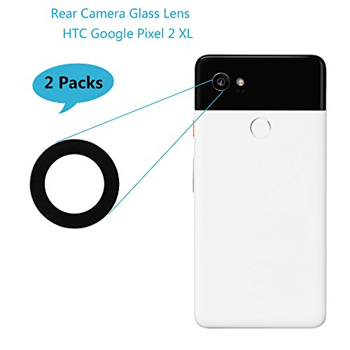 Alovexiong 2Pack Back Rear Camera Glass Lens Cover + Adhesive Fix Repair Parts Replacement Compatible for Google Pixel 2 XL
