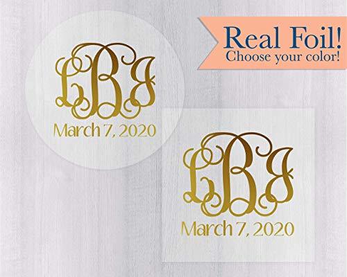 - Monogram Save the Date Foil on Clear Transparent Envelope Seals/Stickers/Labels (#156-CF)