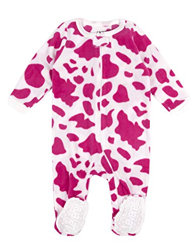 Leveret (F) Footed Pink & White Cow Print Fleece Pajama Sleeper (18-24 ()