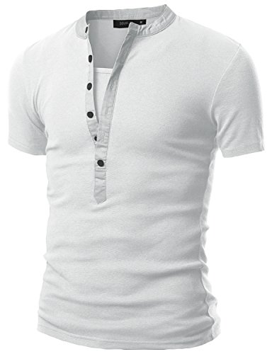 Price comparison product image Doublju Mens Henley T-shirts with Short Sleeve WHITE (US-M)