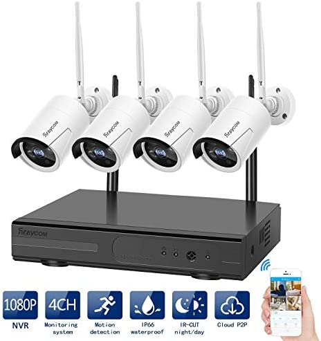 Rraycom Security Camera System Wireless,4CH 1080P NVR with 4Pcs 720P 1.0MP Outdoor Indoor WiFi Surveillance Wireless Weatherproof IP Cameras,65ft Night Vision, App Remote View, P2P,Plug Play,No HDD