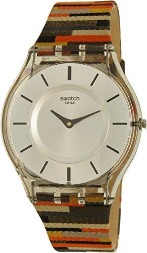 Swatch Women's Patchwork SFM133 Multi Cloth Swiss Quartz Watch