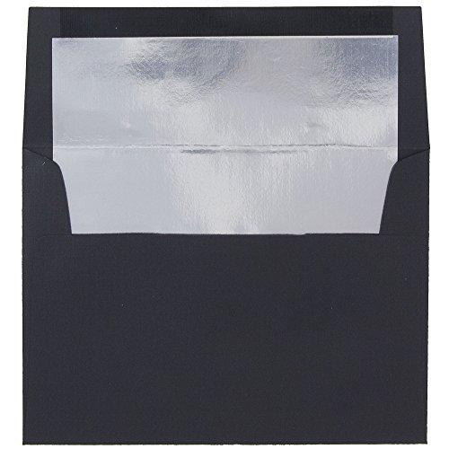 JAM PAPER A7 Foil Lined Invitation Envelopes - 5 1/4 x 7 1/4 - Black Linen with Silver Foil - 25/Pack - Silver Envelope Liners
