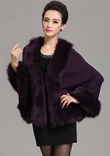 Caracilia Women Bridal Faux Fur Shawl Wraps Cloak Coat Sweater ,Purple,One Size