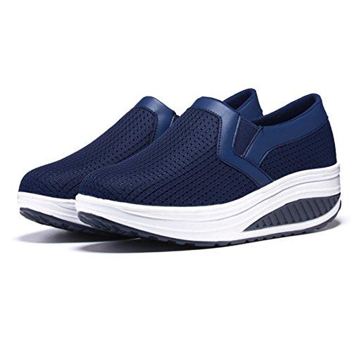 de Zapatos de Zapatilla Azul Running Plataforma Deporte Mujer Hishoes Zapatos Malla Deporte Andar f5qOPaxT