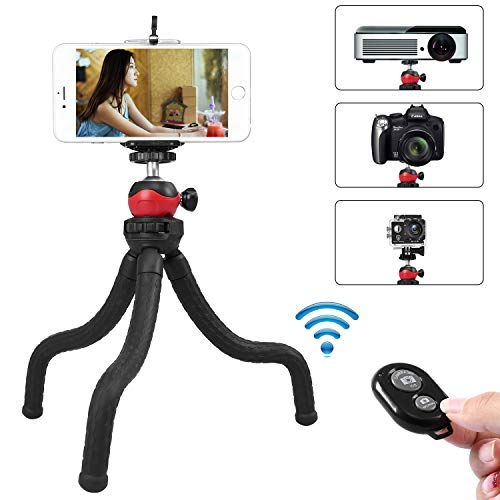 Iphone Apple Ball - Phone Tripod, Flexible and Adjustable Portable Cellphone Tripod Stand Holder with Remote and Universal Clip 360°Ball Joint Compatible with iPhone Android Phone Compact Digital Sports Camera GoPro
