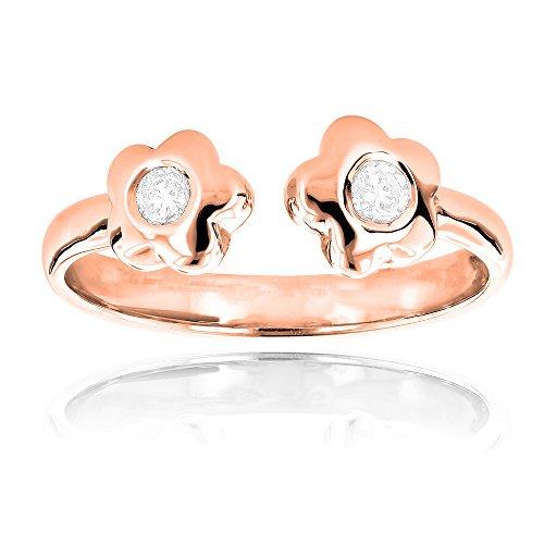 Luxurman Unique Adjustable 14K Natural 0.1 Ctw Diamond Toe Ring Flower For Her (Rose Gold)