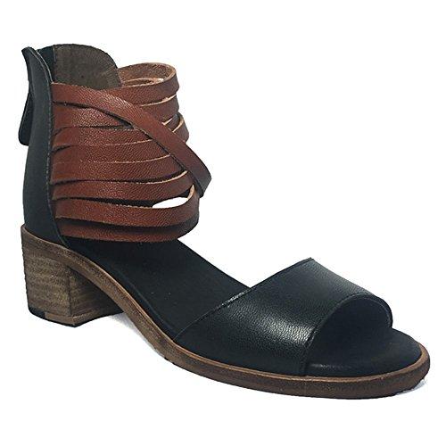 Gee Wawa Footwear Women's Sofia Black/Cognac 8 M