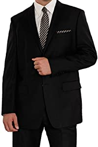 B00IWVL90E Angelo Rossi Men's Solid 2 Button Modern Fit Suit 60R Black