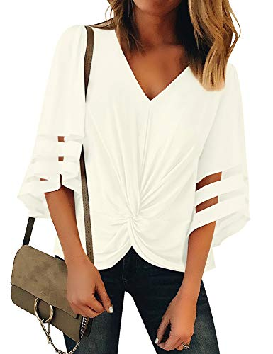 ACKKIA Women's Casual Knot Twist Front V Neck 3/4 Bell Sleeves Blouse Mesh Panel Shirt Top Beige Color Size Large