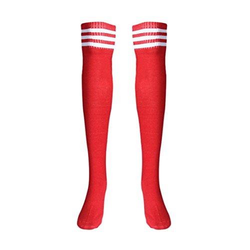 (Voberry Autumn Retro Knee High Tube Thigh High Socks Over Knee Girls Football Socks (Red))
