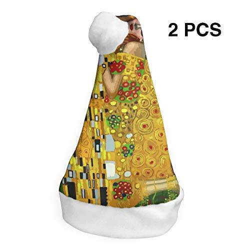 MNBVC Gustav Klimt Kisses Christmas Hat Christmas Holiday Hat Santa Hat Fashion Christmas Hat for Adult and Kids Gift£¨2 Packs£