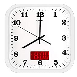 KWANWA 12 Inches Silent Non-Ticking Square Wall Clock - Aluminum Frame, Acrylic Front Cover, Indoor Temperature Display, Battery Operated, White