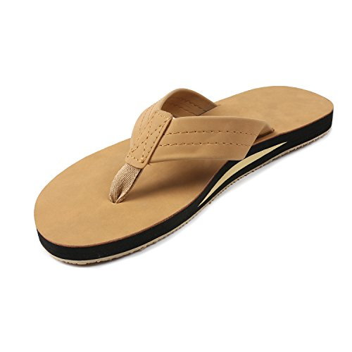 FITORY Mens Flip Flops,Leather Thong Sandals with Arch Support Lightweight Beach (Brown Single Arch)
