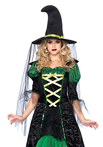 Leg Avenue Women's 2 Piece Storybook Witch Costume, Black/Green, Small/Medium -