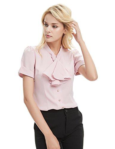 f4a7c5f9 E.JAN1ST Women's Long Sleeve Shirt Tie Bow Neck Button End Slim Fit Chiffon  Blouse