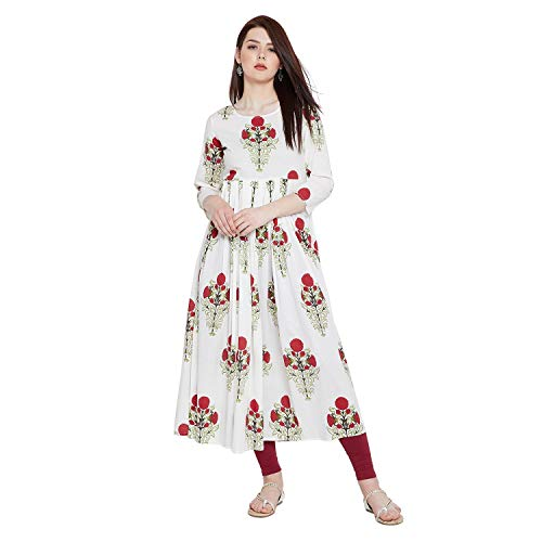 Tissu Women's Cotton Floral Flared Pleated Printed Kurta 5XL Off White 4